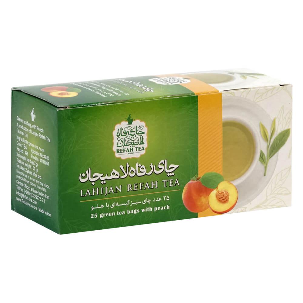 چای تی بگ سبز با طعم هلو