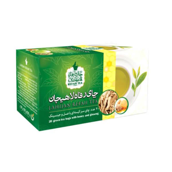 چای تی بگ سبز با طعم عسل و جنسینگ و استویا